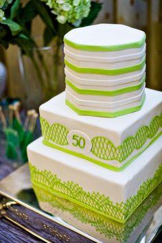 green cake decor, 50th birthday cake