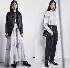 3.1 Phillip Lim 2017 Pre Fall Autumn Womens Lookbook Presentation - Age Of Innocence Victorian Peasant Blouse Skirt Drawstring Cinch Lace Up Pearls Stripes Corset Knit Outerwear Coat Blazer Jacket Anorak Windbreaker Buttons Bell Sleeves Dress Plaid Tartan Check Wool Pussycat Bow Bomber Jacket Linen Plastic High Waist Track Pants Sporty Jogger Sweatpants Pinafore Strapless Vest Waistcoat Polka Dots Denim Mom Jeans Tapered Dark Wash Faded Bleached Wide Leg Crossbody Bag Purse Clutch Ankle…