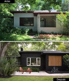 Outdoor design, we share ideas for terraces, patios and gardens that will help you achieve the desired change in your home - Modern Renovation Facade, Home Renovation, Small House Renovation, Home Exterior Makeover, Exterior Remodel, House Paint Exterior, Exterior House Colors, Black House Exterior, Bungalow Exterior