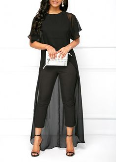 09debf3b45216 Round Neck Black High Low Top and Pants