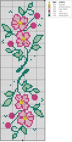 Agulha de Ouro: Motivos Cross Stitch Bookmarks, Cross Stitch Borders, Cross Stitch Rose, Cross Stitch Flowers, Counted Cross Stitch Patterns, Cross Stitch Designs, Cross Stitching, Cross Stitch Embroidery, Crochet Rug Patterns