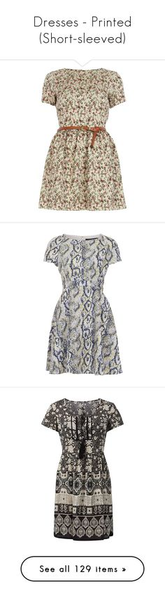 """""""Dresses - Printed (Short-sleeved)"""" by giovanna1995 ❤ liked on Polyvore featuring dresses, vestidos, robes, vestiti, brown skater dress, short-sleeve skater dresses, floral dresses, holiday party dresses, skater dress and short-sleeve dresses"""