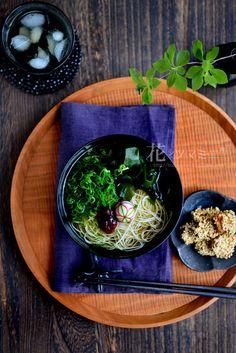 「冷たい梅素麺とささみの胡麻焼き」 - 花ヲツマミニ