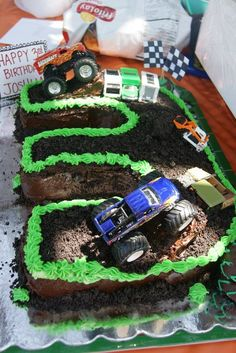 Monster Trucks cake for Bentley's 3rd birthday. I can make it myself!