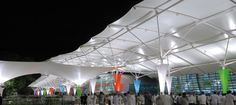 Chhatrapati Shivaji International Airport - Mumbay, India | Canopies made with Serge Ferrari Précontraint composite membrane: light, durable 100% recyclable