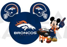 Printable DIY Mickey Mouse Denver Broncos Football Iron on transfer digital image clipart INSTANT DOWNLOAD