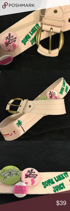 "Juicy Couture Belt This rare Juicy Couture Belt is very unique. It's made of a distressed canvas like 100% cotton material. It has ""some like it juicy"" and ""JUICY"" with a pineapple and palm tree embroidered on it. It also has 3 detachable pins attached.  It measures approx 38"" in length exclusive of buckle. Juicy Couture Accessories Belts"