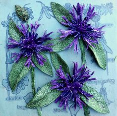 3D - Botanical - Embroidery - 'Cornflowers' - Corinne Young - www.corinneyoungtextiles.co.uk