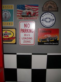 Checkerboard Black & White Walls - I painted walls in my grandsons room for a car theme.