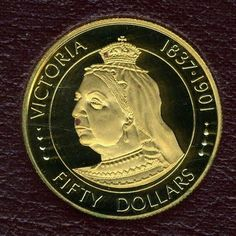 """Cayman Islands Gold Coins - $50 Dollars Gold Coin of 1977, Queen Victoria """"Queens of England""""."""