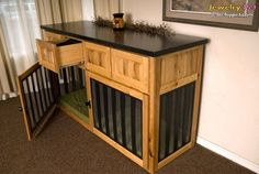 dog crates that look like furniture | Build dog crate into furniture,