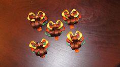5 Girls Hair Bow Clip  Thanksgiving Turkey Clip by NikkisNakss