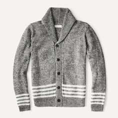 Striped Yarn Cardigan in Black | Frank & Oak