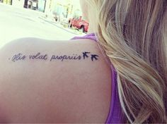 "Alis volat propriis ""she flies with her own wings"" cursive tattoo :):)"