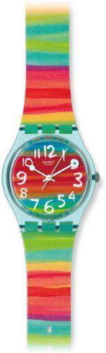 Swatch Womens Rainbow Dial Plastic Watch