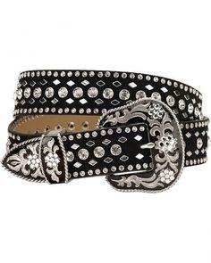 364e8fc462f8 Nocona Rhinestone Studded Suede Leather Western Belt Cowgirl Belts