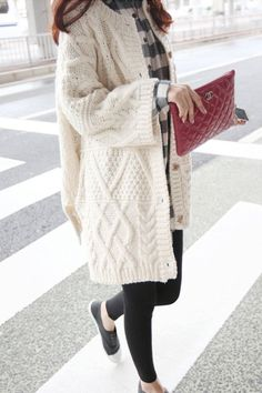Fashion Crochet Buttons Loose Long Cardigan Open-front Sweater Cardigan Coat Outwear