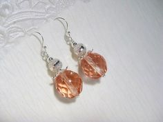 Soft and pretty peach earrings by TheLadyLindy on Etsy, $16.00