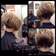bob hairstyles with blonde highlights Choppy Bob Hairstyles, Diy Hairstyles, Straight Hairstyles, Graduated Bob Haircuts, Stacked Haircuts, Brunette With Blonde Highlights, Brunette Color, Highlights Diy, Blonde Brunette
