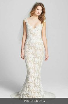 Reem Acra 'Eve' Illusion Yoke Embroidered Lace Column Gown (In Stores Only)
