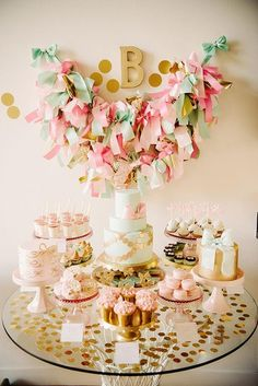 Pink and Gold Baby Girl Birthday Party, Baby Shower / Candy Buffet Table, Cake, Decorations Gold Birthday Party, Gold Party, Birthday Bash, First Birthday Parties, Girl Birthday, First Birthdays, Happy Birthday, Birthday Ideas, Birthday Brunch