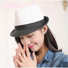 Black and white color block straw sun hat for women UV protection fedora hats