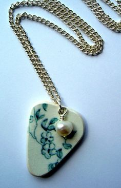 Vintage Ceramic Necklace with Freshwater Pearl