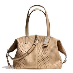 Coach Bleecker Cooper Satchel in Perforated Leather. Just enough slouch, everyday color, and perforated texture. Long handle straps and crossbody option. Coach Handbags, Coach Purses, Purses And Handbags, Replica Handbags, Designer Handbags, Day Bag, Kids Bags, Cloth Bags, Small Bags