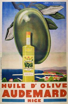 ✨  Jean-Adrien Mercier (1899-1995) - Huile d'Olive, Audemard, Nice, 1928. Les Affiches Lutetia