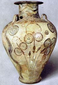 Minoan. Amphora with Papyrus design. 1450 BC. [Papyrus is generally an Egyptian motif]