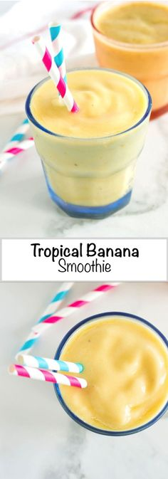 Easy Tropical Banana Smoothie with Chia Seeds   nourishedtheblog.com   A nutritious Easy Tropical Banana Smoothie recipe made with banana, pineapple, mango and chia seeds blended together with tropical juice. A light, cold and refreshing breakfast or snack. Click through for this delicious and easy recipe.