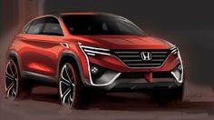 Honda SUV by Constantin Sohier // MacakMotors Honda Hr-v, Honda Jazz, Honda Fit, New Honda, Auto Design, Automotive Design, Car Design Sketch, Car Sketch, Fuel Efficient Suv