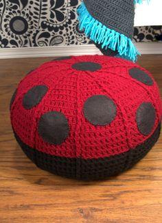 Crochet pouf ottoman ladybug footstool nursery decor by ohbAby1112 #crochetpouf #floorpouf