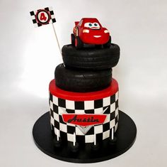 Lightning McQueen from the Car's movie. Base cake is 3...