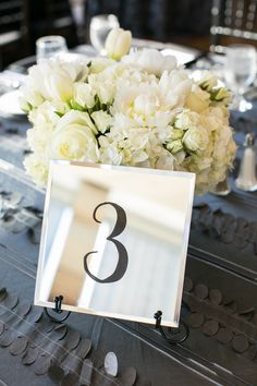 Mirror Tiles with black numbers with black easels, Heidi Crowder Wedding Design. Dianne Personett Photography