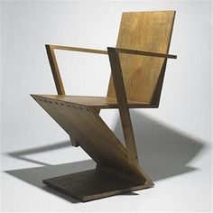 Gerrit Rietveld Armchair Design From 1932 1934 ,Oak Construction With Brass  Fitting .#