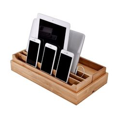 Rebrilliant 3 Piece Eco-Friendly Bamboo Multi Device Organizer Charging Station and Dock Set Charging Station Organizer, Cord Organization, Desktop Organization, Charging Stations, Consoles, Cable Storage, Office Desktop, Clutter Free Home, Wine Rack Wall