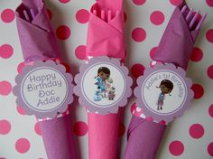 12 Toy Doctor Birthday Party Paper Napkin Rings in Pink and Purple on Etsy, $10.00