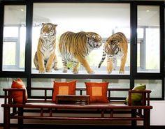 Fensterfolie - Fenstersticker No.166 Tiger Set I - Fensterbilder