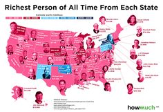 Richest Person From Every State in America Revealed by Map - Thrillist Wealthy People, Rich People, United States Map, U.s. States, Us State Map, Create A Map, Watch Blog, States In America, Important Facts