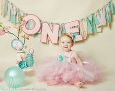 first birthday photo, pink and aqua, baby girl, vintage