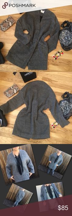 Drama Free 😲 Omg it's simply fabulous! It's cozy on the outside providing warmth on the inside! 70% polyester 30% wool, lining is 100% polyester. The gray fuzzy softness has 2 large hidden snaps for closure or looks great open. Simply fine style, color, and quality. Perfect for dressy or casual. Beneficial for daily wear or business. One coat for all your fashion needs. Nailed it! (Black necklace listed separately) Lush Jackets & Coats