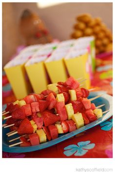 corndogs, fruit kabobs and snack boxes with goldfish & pirates booty. Mini PB & J(ellyfish) would be cute also.
