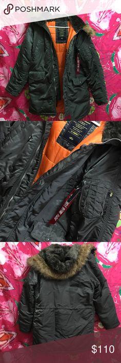 Alpha industries n-3b parka Olive grayish with orange interior . Like new . Fur is still fluffy Jackets & Coats