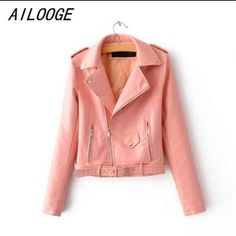 Short PU Leather Jacket Ailooge fashion