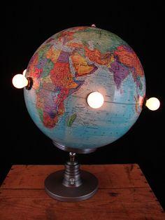 Upcycled Vintage World Globe Lamp. $199.00, via Etsy.
