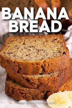 Amish Banana Bread Recipe, Quick Banana Bread, Moist Banana Muffins, Super Moist Banana Bread, Homemade Banana Bread, Chocolate Banana Bread, Banana Bread Recipes, Quick Bread, Moist Bread Recipe