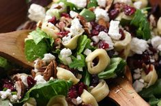 tortellini salad with cranberries, pecans and feta. I served this for a Bridal Shower Luncheon. A great way to combine your green salad and pasta salad!