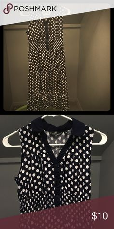 Dress Dark blue polka dot dress with a little collar kinda like a 60s dress only worn twice for a choir concert , so it's in pretty good condition mlle gabrielle Dresses
