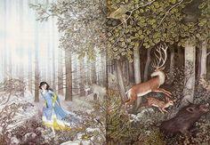 """Nancy Ekholm Burkert, PAGES DU """"SNOW-WHITE AND THE SEVEN DWARFS"""" TRADUITS PAR RANDALL JARRELL. Illustration, 1972. Crayon de couleur sur papier."""